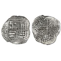 Potosi, Bolivia, cob 4 reales, 1618T, rare, Grade 1, ex-Atocha Research Collection coin #219.
