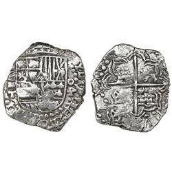 Potosi, Bolivia, cob 4 reales, (1618)T, denomination retrograde o-4, rare, Grade 1.