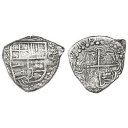 Potosi, Bolivia, cob 4 reales, 1619T, rare, Grade 1.