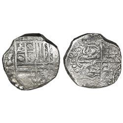 Potosi, Bolivia, cob 4 reales, 1621T, quadrants of cross transposed, Grade 1.