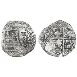 Potosi, Bolivia, cob 4 reales, Philip II, assayer not visible (style of 5th-period B, with borders o