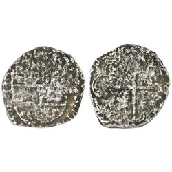 Potosi, Bolivia, cob 4 reales, Philip III, assayer not visible, quadrants of cross transposed, 10 po
