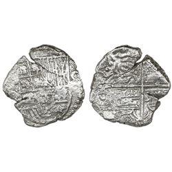 Potosi, Bolivia, cob 4 reales, Philip III, assayer not visible, quadrants of cross transposed, Grade