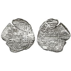 Potosi, Bolivia, cob 4 reales, Philip III, assayer not visible, quadrants of cross transposed, Grade