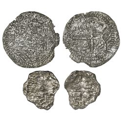 Lot of two Potosi cob 4 and 2 reales (one each), Philip II and III respectively, assayers not visibl