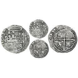 Potosi, Bolivia, cob 2 reales, Philip II, assayer L (1st period), with P-L over denomination ii to l