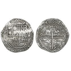 Potosi, Bolivia, cob 2 reales, Philip II, assayer R (Ramos), Grade 1.