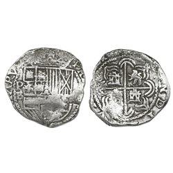 Potosi, Bolivia, cob 2 reales, Philip II, assayer B (5th period), borders of x's, Grade 1.