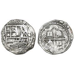 Potosi, Bolivia, cob 2 reales, Philip III, assayer RL (curved leg), Grade 1.