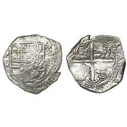 Potosi, Bolivia, cob 2 reales, Philip III, assayer C (rare), Grade 1.