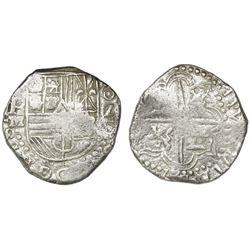 Potosi, Bolivia, cob 2 reales, Philip III, assayer M, Grade 1.