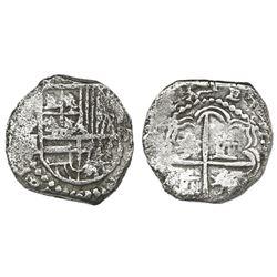 Potosi, Bolivia, cob 2 reales, Philip III, assayer M, quadrants of cross transposed, Grade 2.