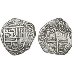 Potosi, Bolivia, cob 2 reales, 1618T, Grade 2.