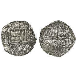 Potosi, Bolivia, cob 2 reales, Philip III, assayer not visible, Grade 3.