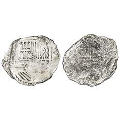 Potosi, Bolivia, cob 8 reales, Philip III, assayer not visible, Grade 3.