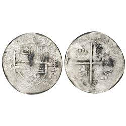 Potosi, Bolivia, cob 4 reales, Philip II, assayer B (2nd period), NGC Sao Jose / shipwreck effect, w