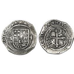 Mexico City, Mexico, cob 4 reales, 1634(?)P, Royal-like.