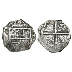 Cartagena, Colombia, cob 2 reales, Philip IV, assayer E below mintmark RN to right, denomination II