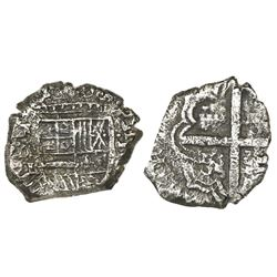 Cartagena, Colombia, cob 1 real, Philip IV, assayer E below mintmark RN to left, denomination I to r