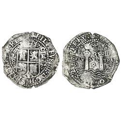 Potosi, Bolivia, cob 8 reales, 1652E transitional Type IV/A.