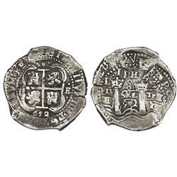 Potosi, Bolivia, cob 8 reales, 1652E post-transitional, 1-PH-6 at top.