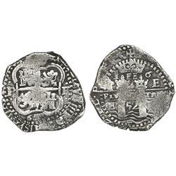 Potosi, Bolivia, cob 4 reales, 1652E post-transitional, 1-PH-6 at top.