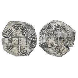 Potosi, Bolivia, cob 8 reales, 1652E transitional Type VII/A.