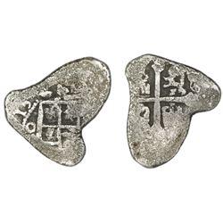 """Mexico City, Mexico, cob 4 reales, (1)713(J), """"cabo de barra"""" (end-piece), ex-Fisher."""