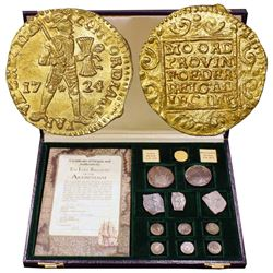 Promotional set of twelve coins, as follows: One Dutch gold ducat (Utrecht mint, 1724), two Dutch si