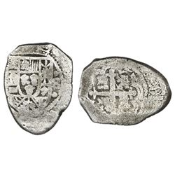 "Mexico City, Mexico, cob 8 reales, Philip V, assayer not visible (ca. 1730), ""cabo de barra"" (end-pi"