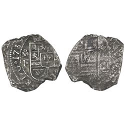Mexico City, Mexico, klippe 4 reales, 1733MF, possible obverse brockage.