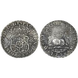 Mexico City, Mexico, pillar 8 reales, Philip V, 1738MF.