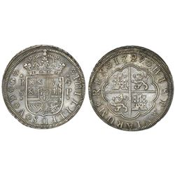 "Seville, Spain, milled 4 reales ""double pistareen,"" Philip V, 1729P, very rare provenance, NGC AU de"