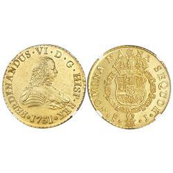 Santiago, Chile, bust gold 8 escudos, Ferdinand VI, 1751J, NGC MS 61 / La Luz.