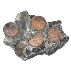 Encrusted clump of at least sixteen English East India Co. copper X cash, 1803.