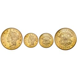 "USA (San Francisco Mint), gold $20 coronet Liberty ""double eagle,"" 1856-S, variety 17B (full serif,"