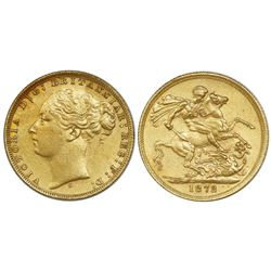 Sydney, Australia (under Great Britain), gold sovereign, Victoria (young head), 1872-S, St. George r