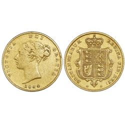Great Britain (London, England), gold half sovereign, Victoria (young head), 1844.