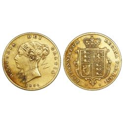 Great Britain (London, England), gold half sovereign, Victoria (young head), 1856.