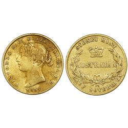 Sydney, Australia (under Great Britain), gold half sovereign, Victoria (young head), 1857.