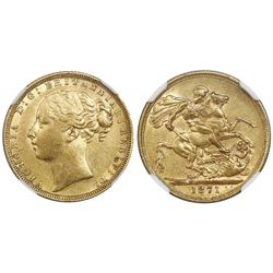 Great Britain (London, England), gold sovereign, Victoria (young head), 1871, St. George reverse (lo