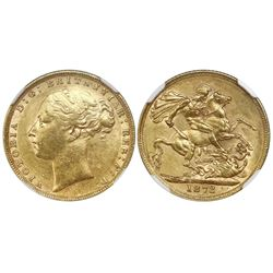 Great Britain (London, England), gold sovereign, Victoria (young head), 1872, St. George reverse, NG