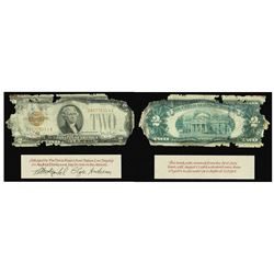 USA, $2 legal tender, series 1928G, serial D807785314A, Clark-Snyder, housed in large lucite capsule