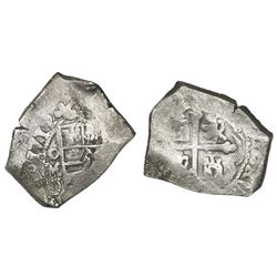 Mexico City, Mexico, cob 4 reales, 1712J, rare, ex-1715 Fleet.