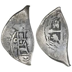 "Mexico City, Mexico, cob 2 reales, 1711J, ""cabo de barra"" (end-piece), ex-1715 Fleet."