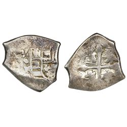 Mexico City, Mexico, cob 2 reales, 1713J, ex-1715 Fleet.