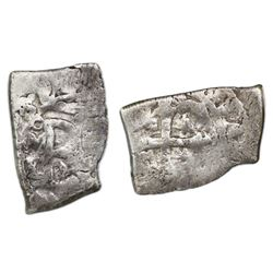 Mexico City, Mexico, cob 1/2 real, 1703/2L, very rare, ex-1715 Fleet.