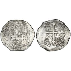 Mexico City, Mexico, cob 8 reales, Philip III, assayer not visible (F).