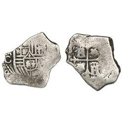Mexico City, Mexico, cob 4 reales, Charles II, assayer G.