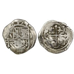 Mexico City, Mexico, cob 1 real, Philip II, assayer F below mintmark oM to left, o to right, very ra